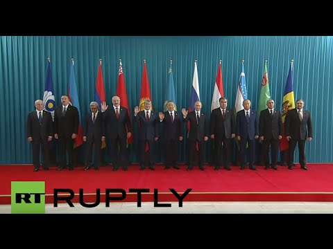 Kazakhstan: Putin arrives for CIS summit, leaders pose for group photo