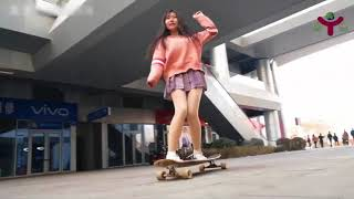 Awesome Girls Longboard Freestyle Skill Dancing