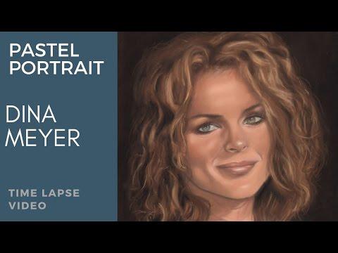 Dina Meyer Pastel Portrait. Time Lapse Video