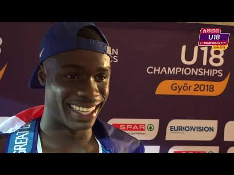 Dominic Ogbechie GBR after winning Gold in the High Jump