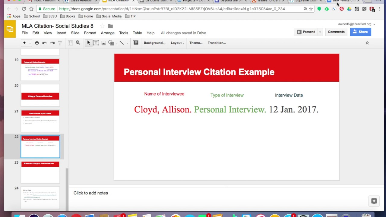mla citation personal interview in text
