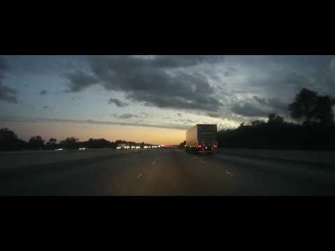 Driving on Interstate 75 around Tampa, Florida during sunset