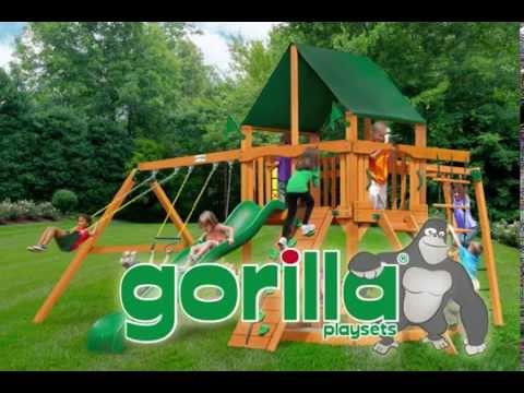 Gorilla Playsets Navigator Swing Set W Amber Posts And Sunbrella