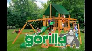 Gorilla Playsets Navigator Swing Set W Amber Posts And Sunbrella Forest Green Canopy