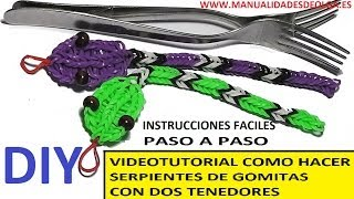 Repeat youtube video COMO HACER UNA SERPIENTE DE GOMITAS CON DOS TENEDORES. VIDEO TUTORIAL DIY