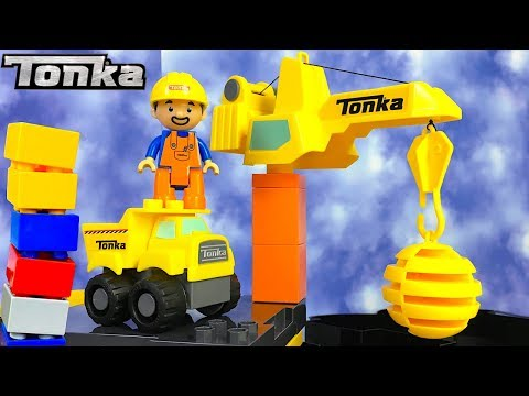 TONKA MIGHTY BUILDERS MIGHTY RIG CASE SET  WITH DUMP TRUCK & CRANE