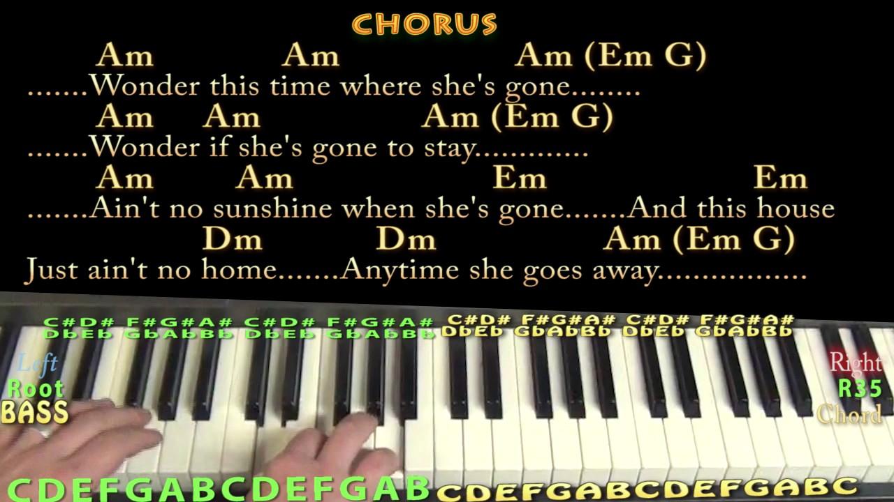 Ain T No Sunshine Bill Withers Piano Lesson Chord Chart With Chords Lyrics Youtube This song has no tabs yet. ain t no sunshine bill withers piano lesson chord chart with chords lyrics