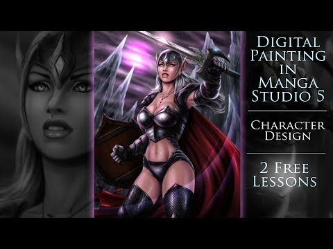 Digital Painting in Manga Studio 5 - Character Design - 2 Free Lessons