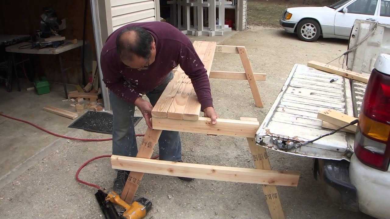 How To Build A Cheap Wood Picnic Table   A Complete Guide From Start To  Finish   YouTube