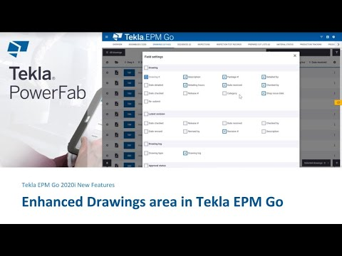 Enhanced Drawings area in Tekla EPM Go 2020i