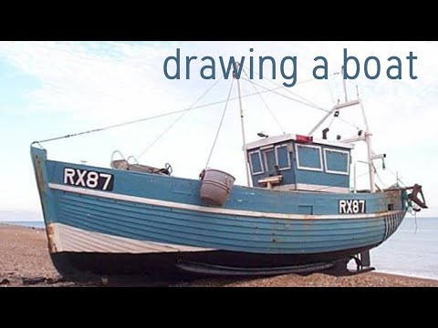 Drawing A Fishing Boat Pencil Sketch Youtube