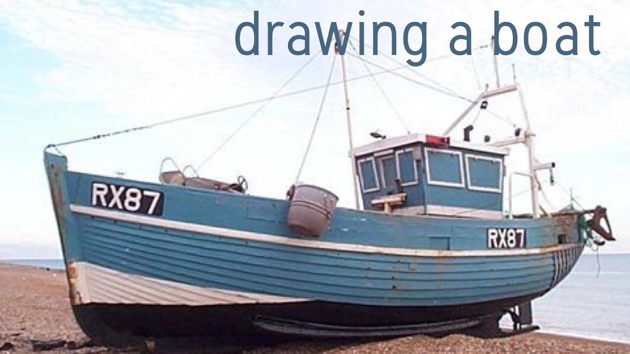Drawing a fishing boat pencil sketch