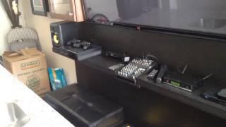 Entertainment center karaoke wall mount system.