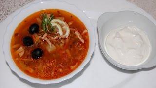 Солянка суп с колбасой и капустой простой домашний классический рецепт
