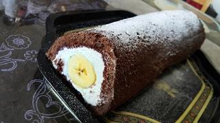 РУЛЕТ шоколадный с бананом и сливочным кремом. Нежнейший!