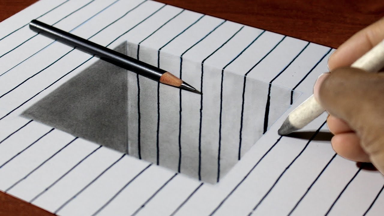 Easy 3d Line Drawings : How to draw square hole on line paper easy d art for