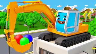 Excavator Trucks With Balls - Construction Vehicles Cartoon for Kids