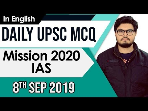 UPSC 2020 – 8 September 2019 Daily Current Affairs MCQs In