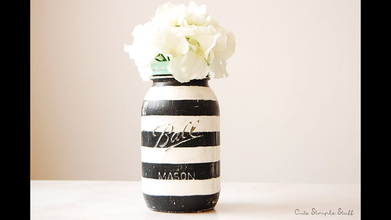 DIY Striped Vintage Inspired Mason Jar Home Decor   YouTube