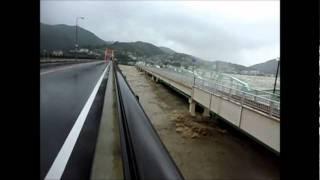 台風12号20110904  熊野川河口付近く 新熊野大橋にて AM10:30