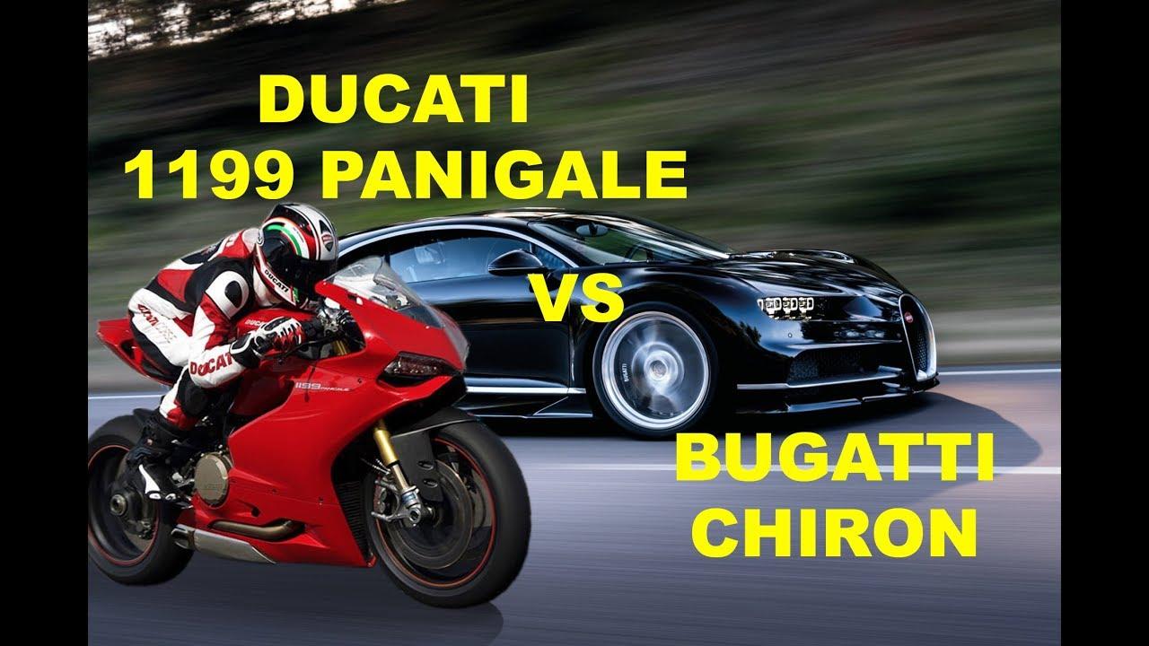 Ducati 1199 Panigale Vs Bugatti Chiron Drag Race Compare Youtube