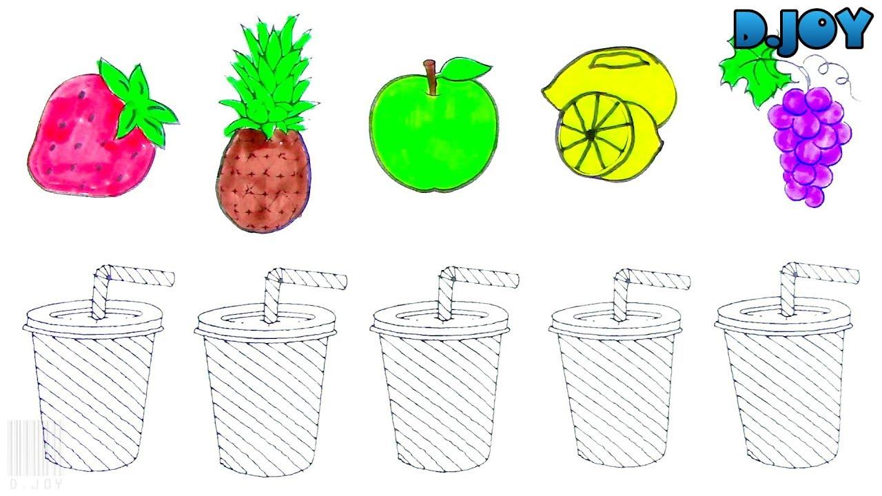 Dibujar y Colorear Jugo de Frutas - Dibujos Para Niños - Aprender a ...