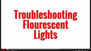 troubleshooting fluorescent lighting