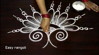 How to draw creative birds kolam designs with out dots | latest rangoli designs | muggulu