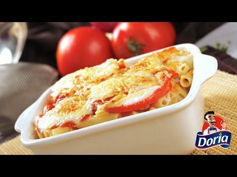 macarrones gratinados con tomate