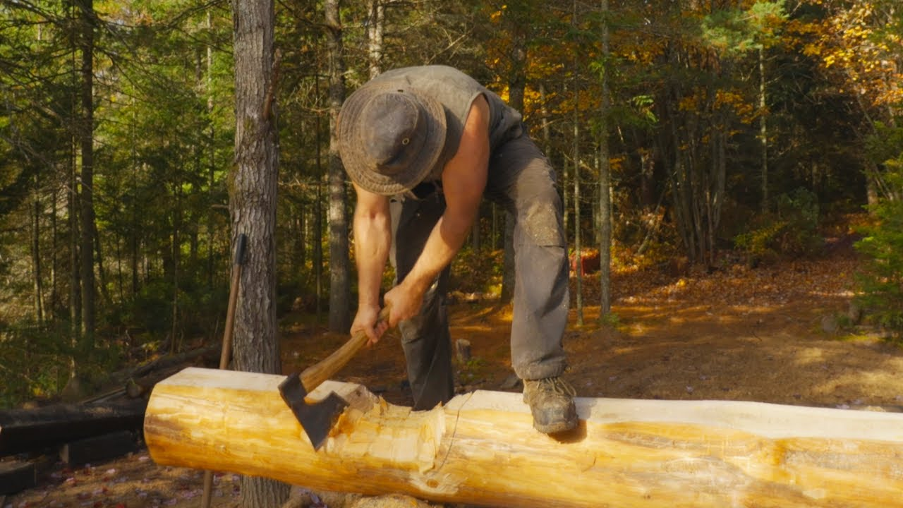 Building a Log Cabin in the Wilderness, Ep1 - 1st Course of Logs