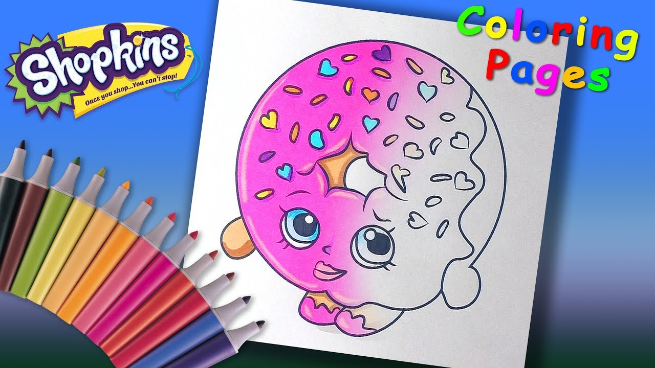 Shopkins coloring for kids dlish donut coloring page