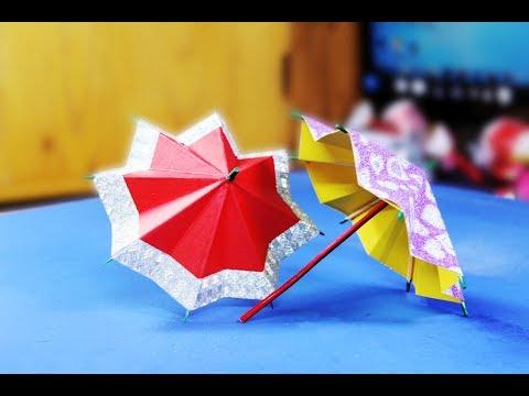 Origami umbrella at home using colored paper// paper umbrella Colored  | crazyMCH