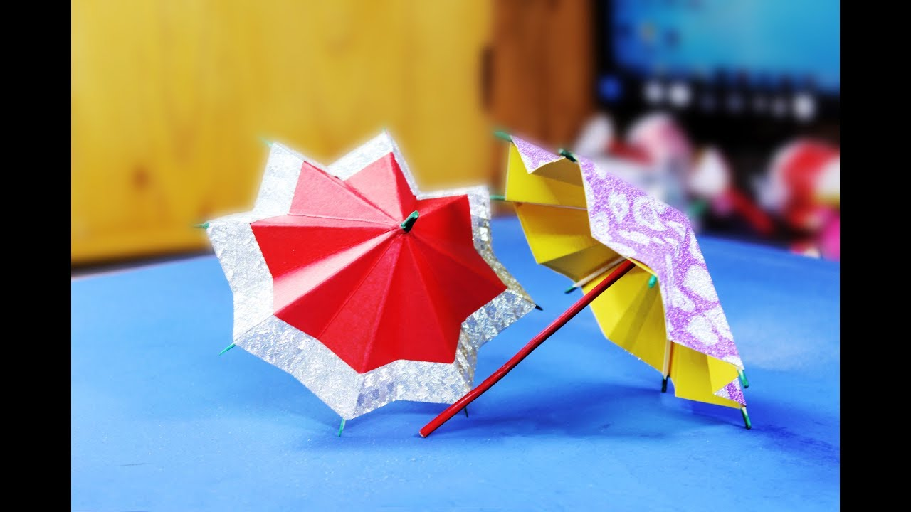 origami umbrella at home using colored paper paper