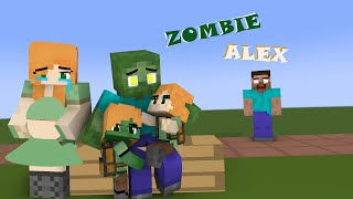 minecraft, ALEX & HEROBRINE LOVE STORY (POOR ZOMBIE FAMILY)
