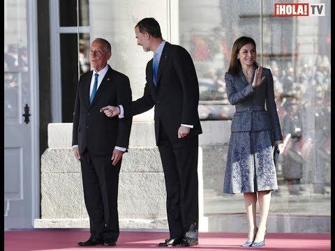 Los Reyes de España recibieron al presidente de Portugal en el Palacio Real   La Hora ¡HOLA!