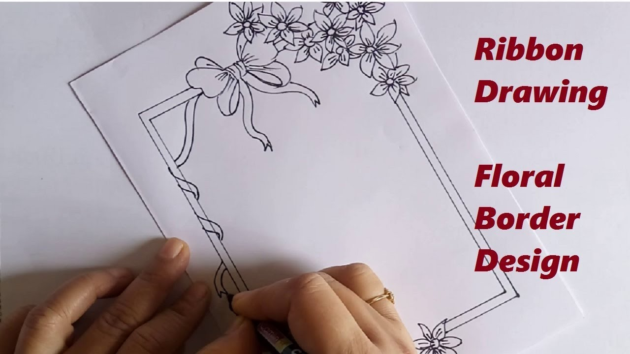 Ribbon Drawing Floral Border Drawing On Paper Notebook Decoration Ideas Youtube