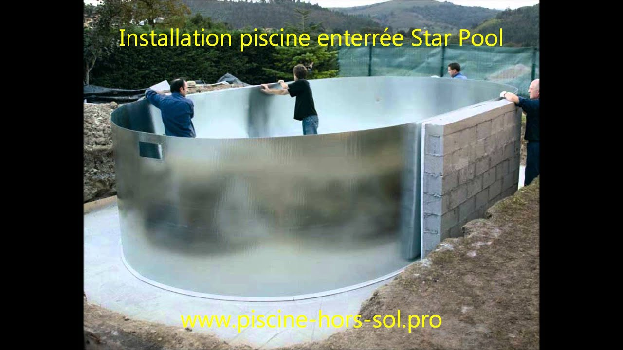 Montage piscine enterr e star pool gre youtube for Piscine structure bois semi enterree