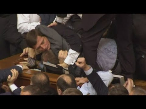 Brawl erupts in Ukrainian parliament, Klitschko watches from sidelines