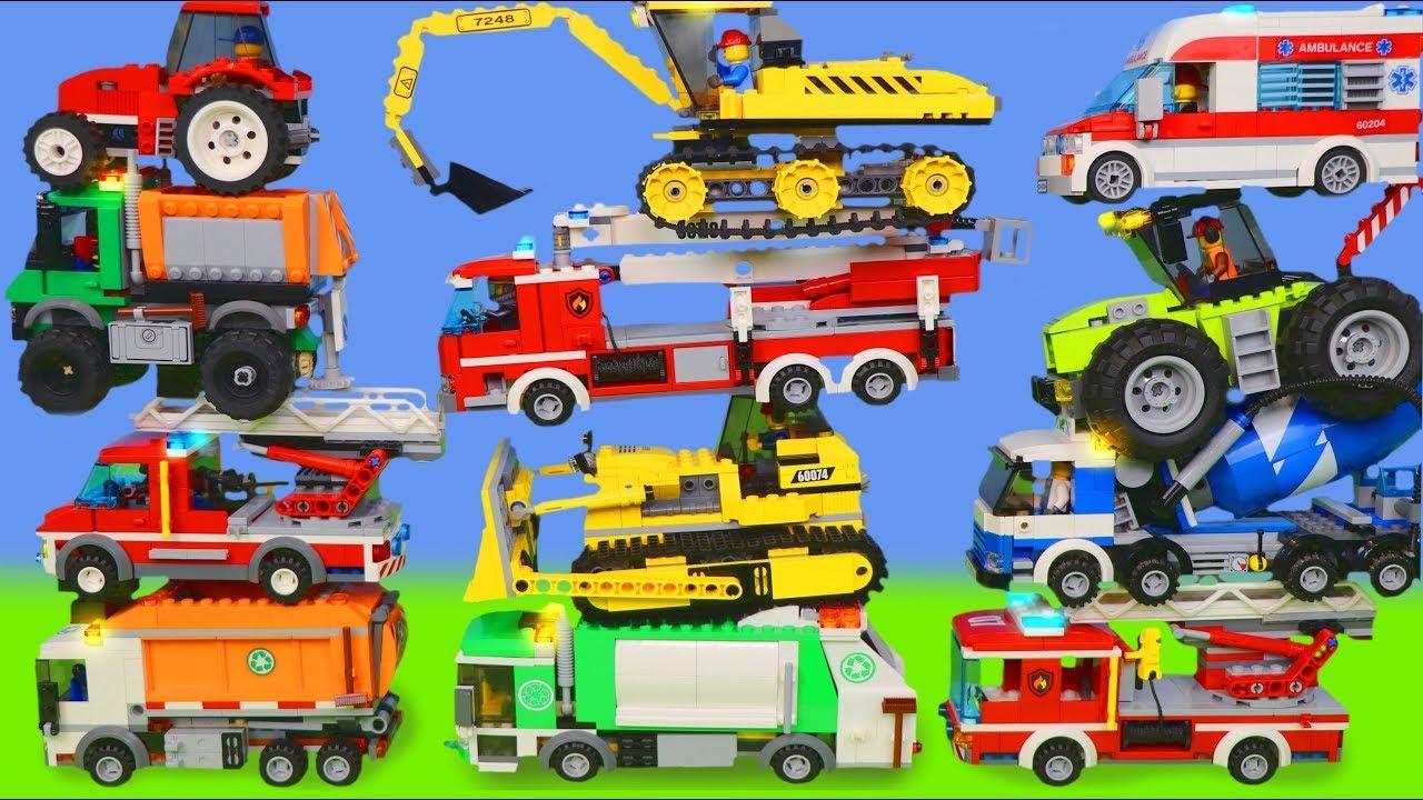 LEGO Excavadora Tractor Buldocer Carros juguetes Cargadora Camiones coche de policía - Toys for kids
