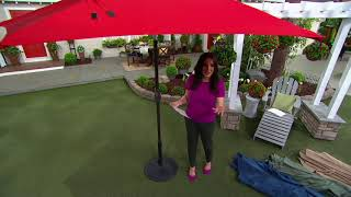 atleisure 9 solar double top patio umbrella with cover on qvc
