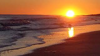 Sunset over Atlantic in Montauk near Winter Solstice