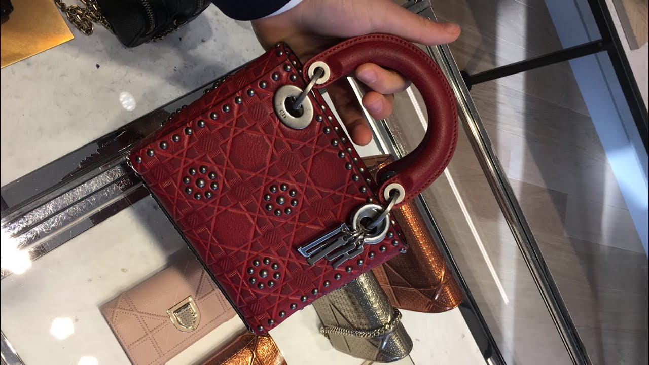 9ad59cd0302c MINI LADY DIOR BAG IN RED STUDDED CALFSKIN - YouTube
