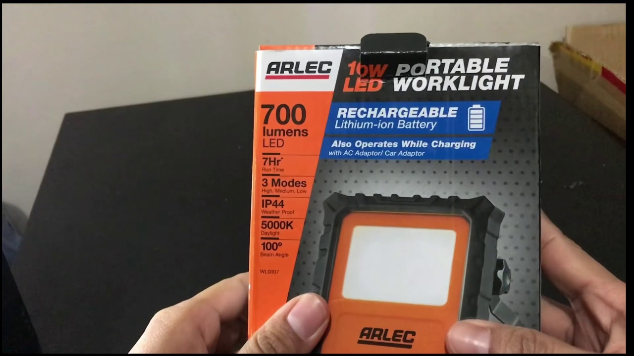 Arlec Led Lights Arlec 10w Rechargeable Worklight Unboxing