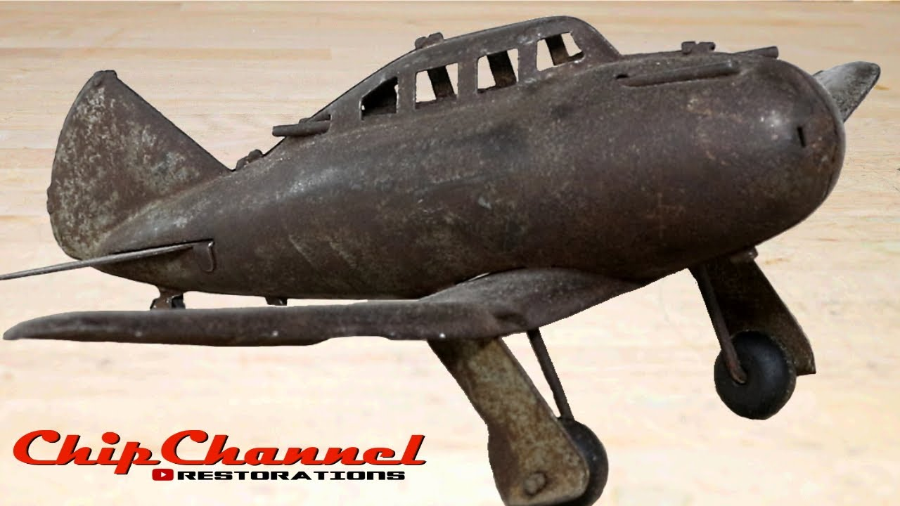1940s Marx Seversky P35 Toy Fighter Airplane Restoration Youtube [ 720 x 1280 Pixel ]