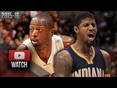 Dwyane Wade vs Paul George EPIC DUEL Highlights (2016.01.04) Heat vs Pacers - DRAMA!!