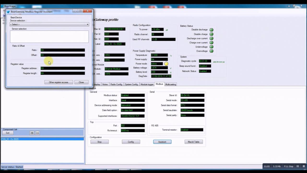 ModBus RS485 - Wireless Sensor Networks supervision software (BeanScape)