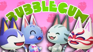 Rover, Rosie, Lolly, and Kabuki singing Bubblegum K.K. in Animal Crossing: New Horizons