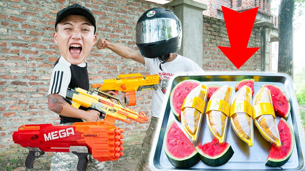Battle Nerf War: Battle Nerf Guns WATERMELON CAKE COMPETITION