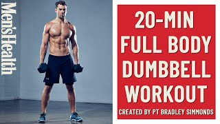 Using just dumbbells, you'll work your way through 10 reps of six exercises, going as many rounds possible (amrap) within 20 minutes. this full-body worko...