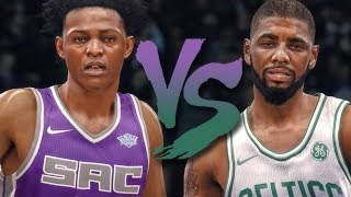 De'aaron fox vs kyrie irving on boston celtics! nba live 18 early gameplay!